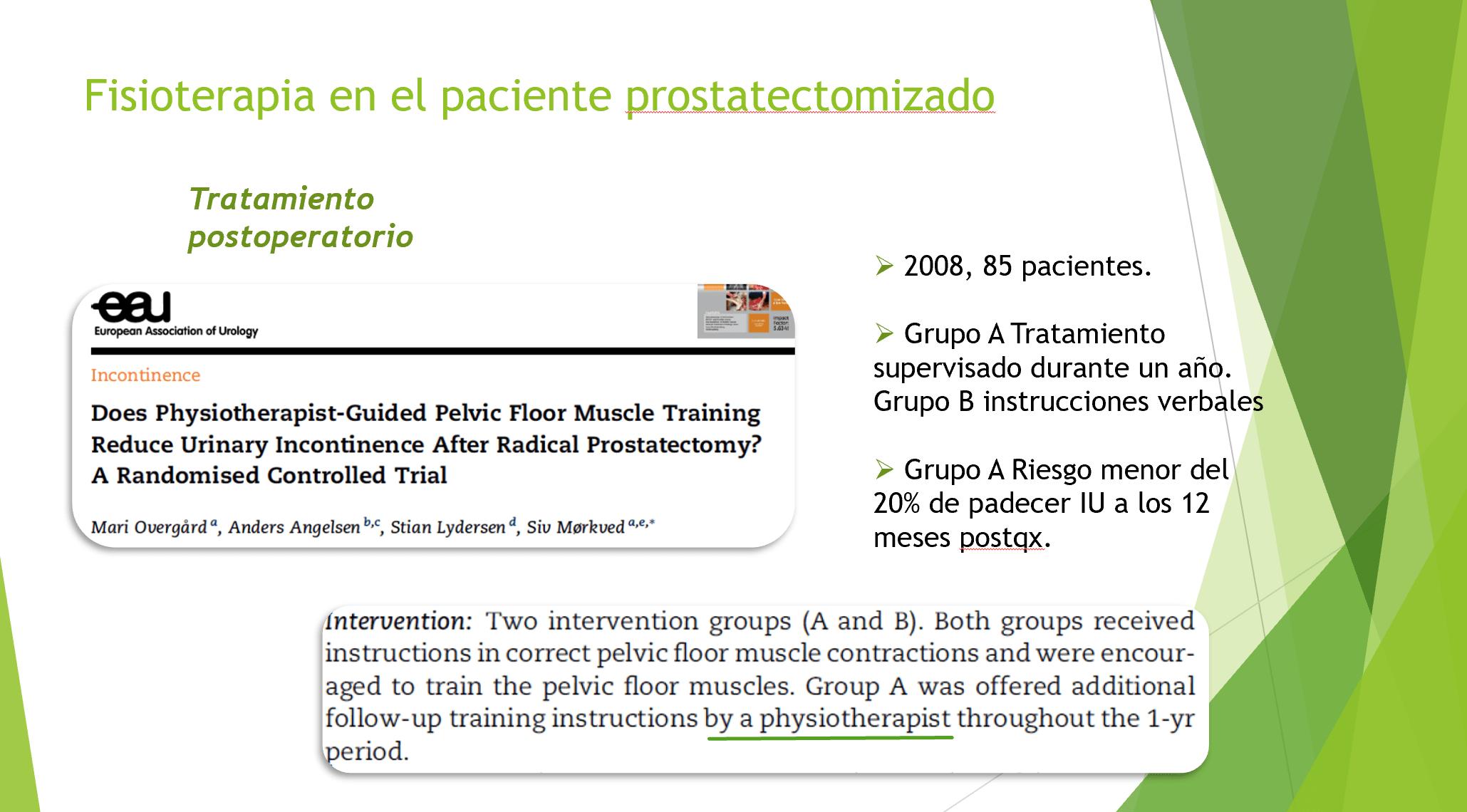 fisioterapia en el paciente prostatectomizado